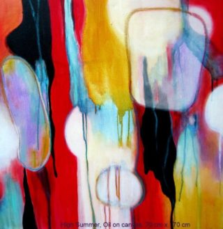 An Oil painting by Jennifer Gowen in the Abstract style  with main colour being Black Blue and Red and titled High Summer