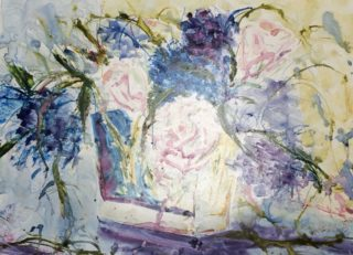 A Watercolour painting by Margaret Morgan Watkins depicting Flowers with main colour being Blue and Pink and titled Roses and Hydrangeas from Bernadines Garden