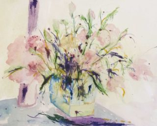 A Watercolour painting by Margaret Morgan Watkins depicting Flowers with main colour being Pink and titled Roses in Vase