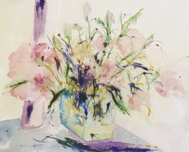 Mixed Media Painting by Margaret Morgan Watkins titled Roses in Vase