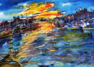 A Watercolour painting by Margaret Morgan Watkins Water with main colour being Blue and Yellow and titled The Breaking of Dawn at the Yamba Marina 2