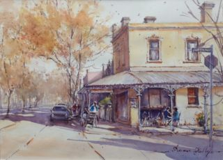 A Watercolour artwork by Annee Kelly in the Impressionist style  depicting Landscape Buildings and Streets with main colour being Blue Ochre and Orange and titled Autumn afternoon, Carlton, Melbourne