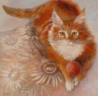 An Acrylic painting by Ekaterina Mortensen in the Realist style  depicting Animals and Cats with main colour being Cream Ochre and Orange and titled Portrait of Fandorin