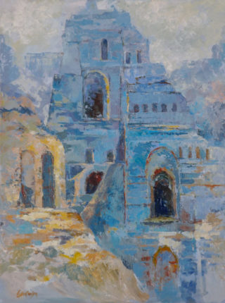 An Acrylic painting by Ekaterina Mortensen in the Abstract Impressionist style  depicting Buildings and City with main colour being Blue and titled Roman Relicts in Blue
