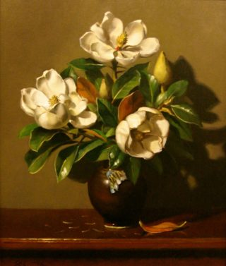 An Oil painting by Gregory R. Smith in the Realist style  depicting Flowers and Vases with main colour being Brown and Cream and titled Grandiflora Aglow