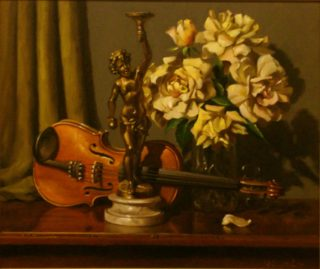 An Oil painting by Gregory R. Smith in the Realist style  depicting Flowers Music and Statue with main colour being Brown Cream and Orange and titled Peace Rose, Cherub & Violin