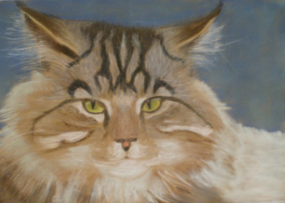 A Pastel artwork by Kathleen Bentley in the Realist style  depicting Animals Cats with main colour being Black Blue and Ochre and titled Shasha