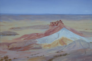An Acrylic painting by Alex Mortensen in the Realist style  depicting Desert Hills and Mountains with main colour being Blue Brown and Cream and titled Central Australia