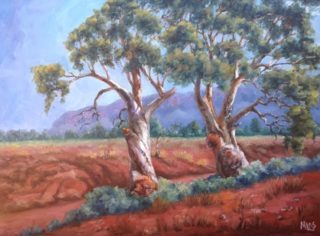An Oil painting by Moyra Le Blanc Smith in the Realist Impressionist style  depicting Trees Bush and Mountains with main colour being Orange Purple and Red and titled Aroona Heysen Country