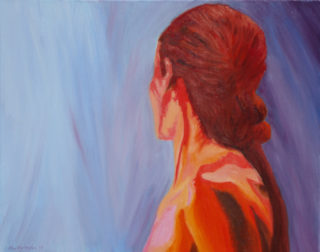 An Oil painting by Alex Mortensen in the Contemporary Realist style  depicting  Girl and Nude with main colour being Blue and Red and titled Becca