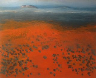 An Acrylic painting by Robert Enemark in the Abstract Impressionist style  depicting Landscape Outback with main colour being Blue Orange and Red and titled Uluru from a distance
