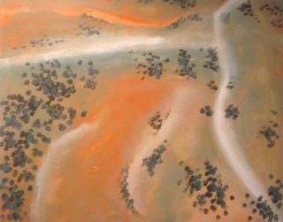 An Acrylic painting by Robert Enemark in the Abstract Impressionist style  depicting Landscape Bush and Outback with main colour being Cream Gold and Ochre and titled Aerial with white track at Uluru