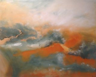 An Acrylic painting by Robert Enemark in the Abstract style  depicting Landscape Outback and Storm with main colour being Blue Grey and Orange and titled Misty Landscape Uluru