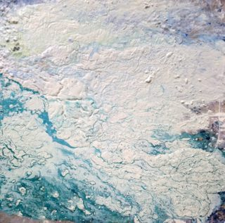 An Acrylic painting by William Holt in the Abstract style  depicting  with main colour being Blue and White and titled Engaged in Blue