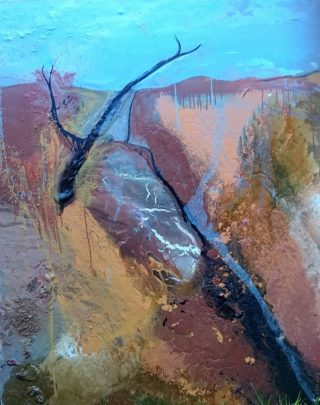 An Oil painting by William Holt in the Abstract style  depicting  with main colour being Black Blue and Pink and titled Remote