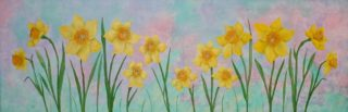 An Acrylic painting by Julie-Anne Gatehouse in the Realist Impressionist style  depicting Flowers and Garden with main colour being Blue Green and Pink and titled Yellow Daffodils
