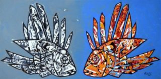 An Oil painting by Camilo Esparza in the Contemporary style  depicting Animals Beach and Creek with main colour being Blue Grey and Orange and titled Marine Duality