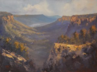 An Oil painting by Heinz Fickler in the Realist style  depicting Landscape Mountains with main colour being Blue Brown and Olive and titled Blue Mountains