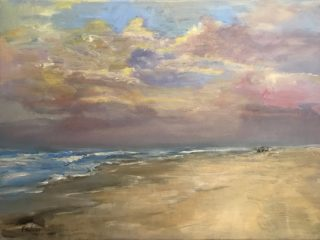 An Oil painting by Helen Paulucci in the Realist Impressionist style  depicting Beach and Waves with main colour being Blue Cream and Ochre and titled Illawarra Morning