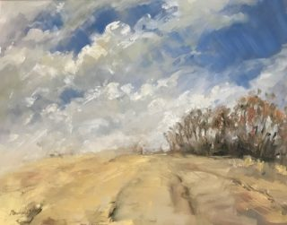 An Oil painting by Helen Paulucci in the Impressionist style  depicting Landscape Rural and Trees with main colour being Blue Cream and Ochre and titled Yellow Field