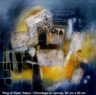 A Mixed Media painting by Jennifer Gowen in the Abstract style  with main colour being Blue and Yellow and titled King of Steel, Kabul