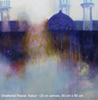 An Oil painting by Jennifer Gowen in the Semi-Abstract style  Buildings and City with main colour being Blue and Purple and titled Shattered Peace, Kabul