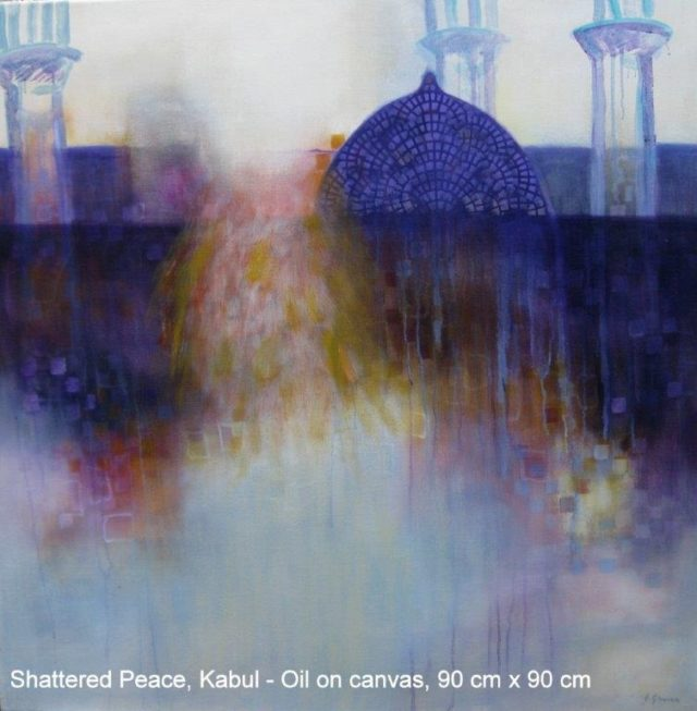 Oil Painting by Jennifer Gowen titled Shattered Peace, Kabul