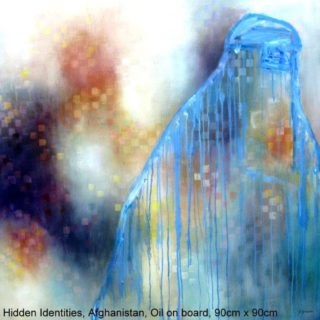 An Oil painting by Jennifer Gowen in the Abstract style  with main colour being Blue and titled Hidden Identities, Afghanistan