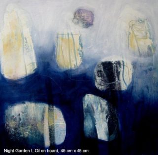 An Oil painting by Jennifer Gowen in the Abstract style  with main colour being Blue and Cream and titled Night Garden 1