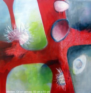 An Oil painting by Jennifer Gowen in the Abstract style  depicting  with main colour being Blue Grey and Red and titled Hidden