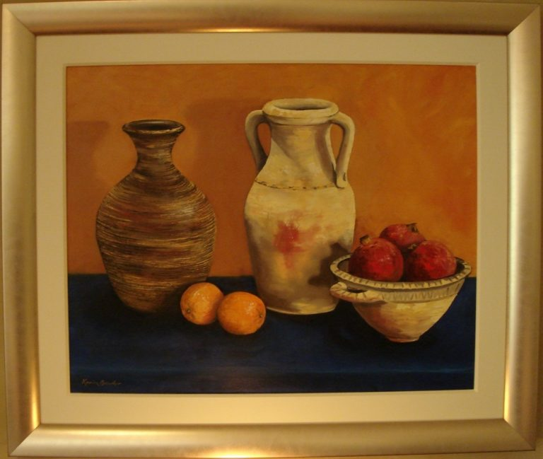 Oil Painting by Karin Bowler titled Pots & Pomegranates