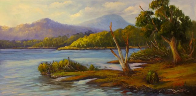 Acrylic Painting by Christopher Vidal titled Oil on canvas - View of lake St Claire Tasmania