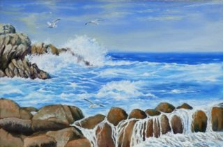 An Oil painting by Lindsay Kilminster depicting Seascape Beach Birds and Rocks with main colour being Blue Brown and White and titled Surf at Petrel Cove