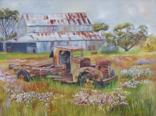 An Oil painting by Lindsay Kilminster in the Contemporary Realist style  depicting Landscape Buildings Bush and Cars with main colour being Black Blue and Brown and titled Rust in Peace