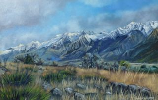 An Oil painting by Lindsay Kilminster in the Contemporary Realist style  depicting Landscape Bush Mountains and Snow with main colour being Blue Brown and Green and titled Lower Tasman Valley, NZ
