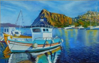 An Oil painting by Lindsay Kilminster in the Contemporary Realist style  depicting Boats Jetty and Mountains with main colour being Black Blue and Brown and titled Fishing Boat in the Mediterranean