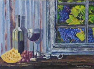 An Oil painting by Lindsay Kilminster in the Contemporary Realist style  depicting Still Life Farmland Food and Fruit with main colour being Black Blue and Cream and titled Vines through a window