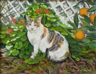 An Oil painting by Lindsay Kilminster in the Contemporary Realist style  depicting Animals Cats and Garden with main colour being Brown Cream and Green and titled Garden Cat
