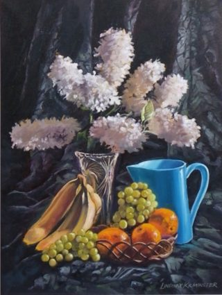 An Oil painting by Lindsay Kilminster in the Contemporary Realist style  depicting Flowers Drapery and Fruit with main colour being Black Blue and Orange and titled Blue Jug