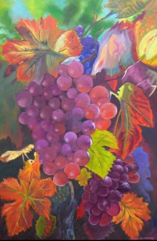 An Oil painting by Lindsay Kilminster in the Contemporary Realist style  depicting Fruit Farmland and Food with main colour being Green Ochre and Orange and titled Red Wine Grapes