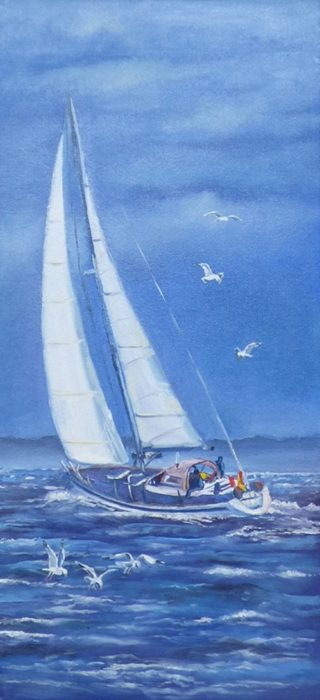 An Oil painting by Lindsay Kilminster in the Contemporary Realist style  depicting Seascape Birds Boats and Sea with main colour being Blue and White and titled Tacking into the wind
