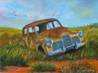 An Oil painting by Lindsay Kilminster in the Contemporary Realist style  depicting Landscape Birds Bush and Cars with main colour being Blue Brown and Green and titled Restoration Dream