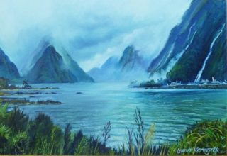 An Oil painting by Lindsay Kilminster in the Contemporary Realist style  depicting Landscape Bush Lake and Mountains with main colour being Blue Green and White and titled MiIford Sound in Winter