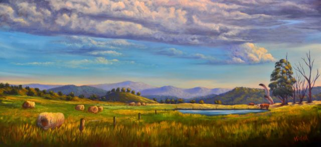 Acrylic Painting by Christopher Vidal titled Towards the Great Alpine Road