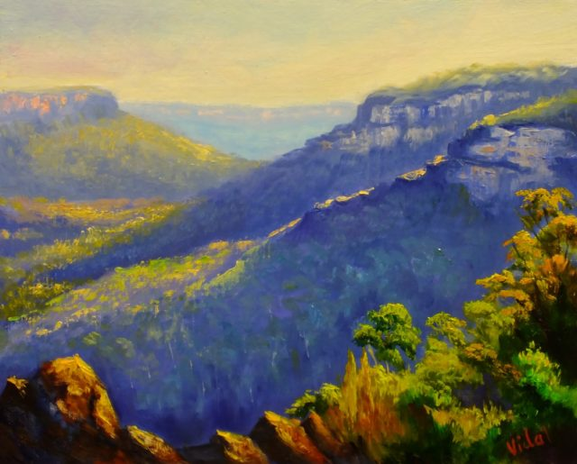 Acrylic Painting by Christopher Vidal titled Oil painting - Princess Rock lookout Wentworth Falls