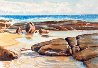 A Watercolour painting by Gregory Pastoll in the Realist style  depicting Beach with main colour being Blue Brown and Ochre and titled Beach at Margaret River Mouth