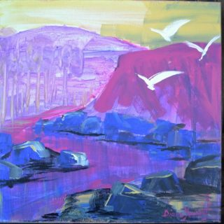 An Acrylic painting by Diane Yousouf in the Contemporary Realist style  depicting River Birds Desert and Hills and titled Distant Trees
