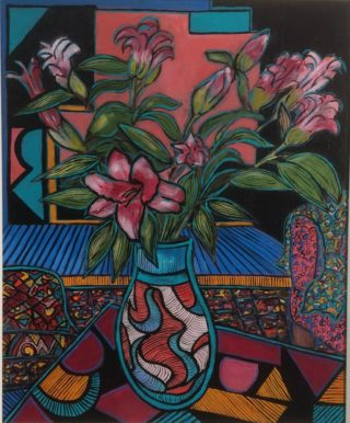 An Acrylic painting by Julie Rooney in the Contemporary style  depicting Flowers with main colour being Blue Pink and Red and titled Lilies
