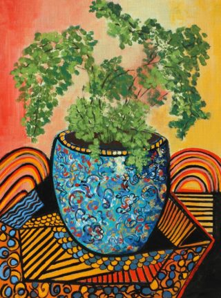 An Acrylic painting by Julie Rooney in the Realist Impressionist style  Flowers with main colour being Blue Green and Red and titled Maidenhair fern