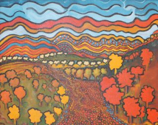 An Acrylic painting by Julie Rooney in the Impressionist style  depicting Landscape Fantasy with main colour being Orange White and Yellow and titled Dreamtime